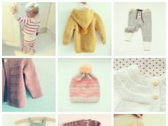 9 retro baby knitted garments : mustard hooded sweater with pompom, prune textured cardigan with wood buttons, white cardigan, cream coat with pockets and wood buttons, striped gray and cream legging, fairisle pink and wheat beanie with peach pompom, fushia and white striped playsuit, peach onesie with stripes and drawstring and mint romper with drawstring, pompoms, textured stripes and wood buttons between leg openings for easy diaper change