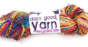 Multicolored textured recycled sari silk yarn from Darn Good Yarn