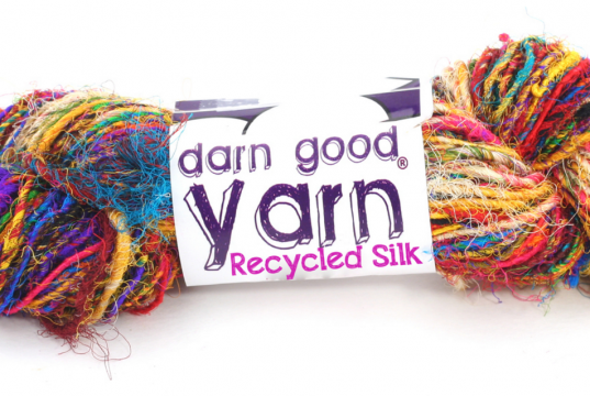 Multicolored textured recycled sari silk yarn from Darn Good Yarn