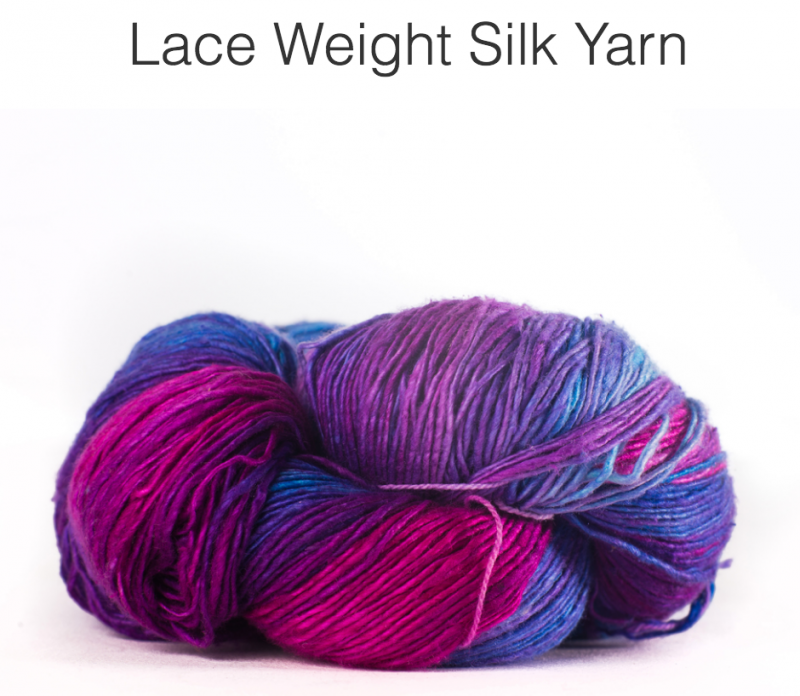 Lace weight reclaimed silk yarn in hues of fuchsia, purple and blue