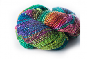 Sparkly lace weight reclaimed silk yarn, multicolored
