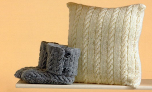 Cream Colored Cable Pillow and Grey Cable Knit Booties