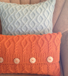 Sand and burnt orange original cable pillow covers with wood buttons
