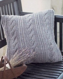 Rustic knit cable pillow with stripes