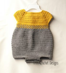 Simple short-sleeve grey and mustard crochet romper for girls, with buttons between legs for easy diaper change