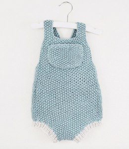 Minimalistic summer baby romper knit in seed stitch