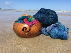 Shiny, colorful lace yarn from Darn Good Yarn